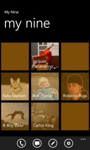 Main screen with names and contact selected